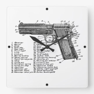 Gun Diagram V2 Square Wall Clock