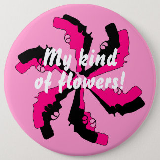 Gun Flower Pink Black Feminine 6 Cm Round Badge