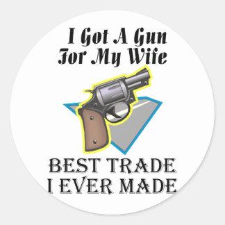 Gun for Wife Classic Round Sticker