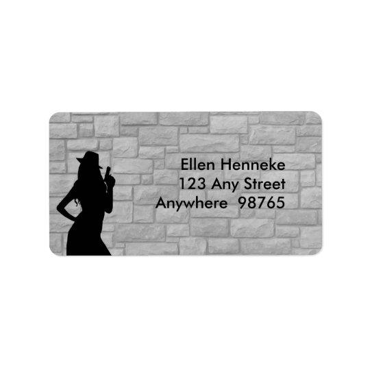 Gun Moll Silhouette Address Label
