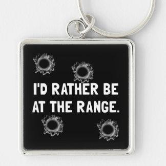 Gun Range Silver-Colored Square Key Ring