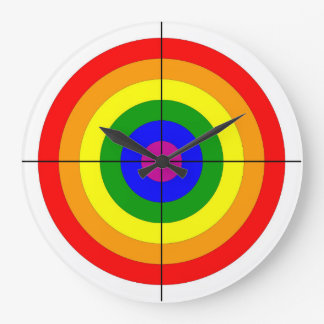 gun shooting range bulls eye target symbol gay large clock