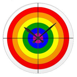 gun shooting range bulls eye target symbol gay wall clock