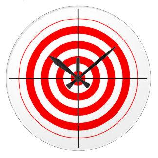 gun shooting range bulls eye target symbol large clock