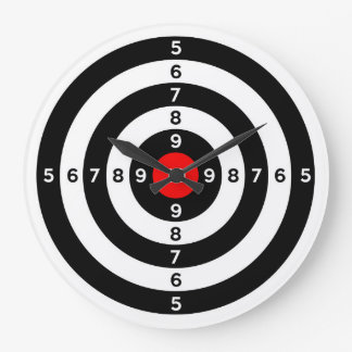 gun shooting range bulls eye target symbol large clock
