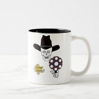 gun skull and badge sheriff Two-Tone mug