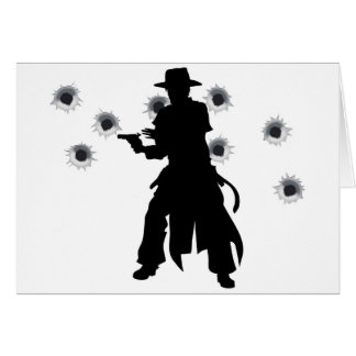Gun slinger western shoot-out greeting card