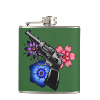 gun with flowers hip flask