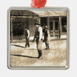 Gunfight Ready Vintage Old West Square Metal Christmas Ornament