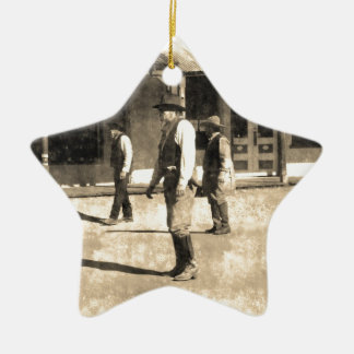 Gunfight Ready Vintage Old West Double-Sided Star Ceramic Christmas Ornament