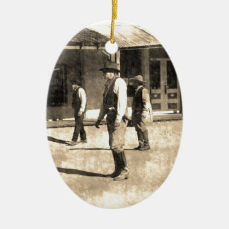 Gunfight Ready Vintage Old West Christmas Ornament