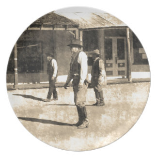 Gunfight Ready Vintage Old West Plates