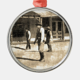 Gunfight Ready Vintage Old West Silver-Colored Round Decoration