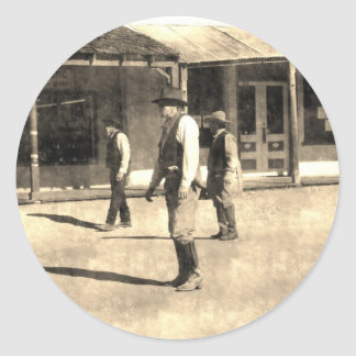 Gunfight Ready Vintage Old West Round Sticker
