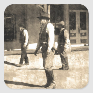 Gunfight Ready Vintage Old West Square Stickers