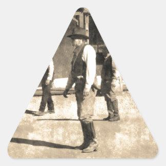 Gunfight Ready Vintage Old West Triangle Sticker