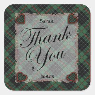 Gunn Scottish clan tartan - Plaid Square Sticker