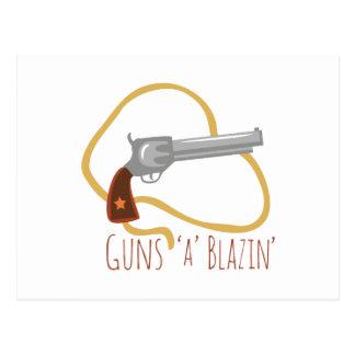 Guns a Blazin Postcard