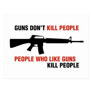 Guns Don't Kill People Anti Gun Slogan Postcard
