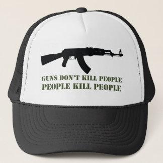 GUNS DON'T KILL PEOPLE, PEOPLE KILL PEOPLE TRUCKER HAT