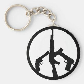 Guns In A Peace Sign Basic Round Button Key Ring