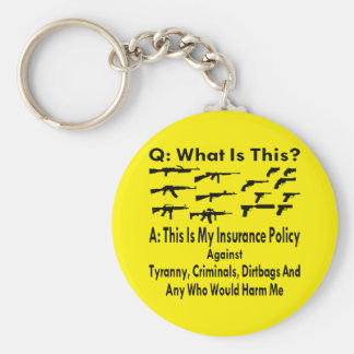 Guns My Insurance Policy Against Tyranny Criminals Basic Round Button Key Ring