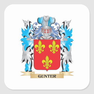 Gunter Coat of Arms - Family Crest Square Sticker