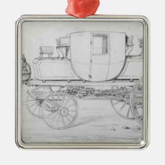Gurney's Steam Carriage, 1827 Silver-Colored Square Decoration