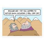 guru fell off mountain post cards