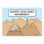 Guru took early retirement postcards