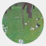 Gustav Klimt After The Rain Round Stickers