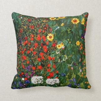 Gustav Klimt art - Farm Garden with Sunflowers Throw Cushions