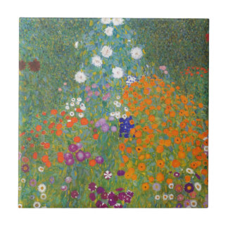 Gustav Klimt // Bauerngarten // Farm Garden Small Square Tile