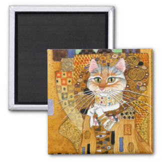 Gustav Klimt Cat in Gold spoof magnet