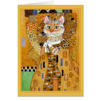 Gustav Klimt cute cat spoof greeting card