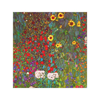 Gustav Klimt Farm Garden with Sunflowers Canvas