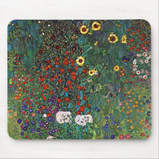 Gustav Klimt Farm Garden with Sunflowers Mouse Mat