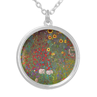 Gustav Klimt Farm Garden with Sunflowers Necklace
