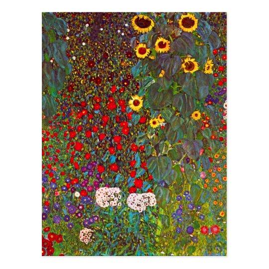 Gustav Klimt Farm Garden with Sunflowers Postcard