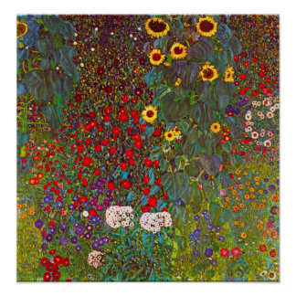 Gustav Klimt Farm Garden with Sunflowers Poster