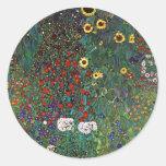 Gustav Klimt Farm Garden with Sunflowers Round Sticker