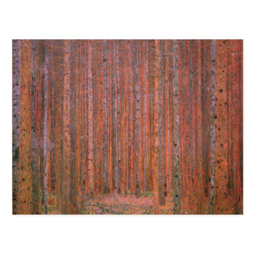 Gustav Klimt Fir Forest Tannenwald Red Trees Post Card