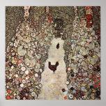 Gustav Klimt Garden With Roosters Poster