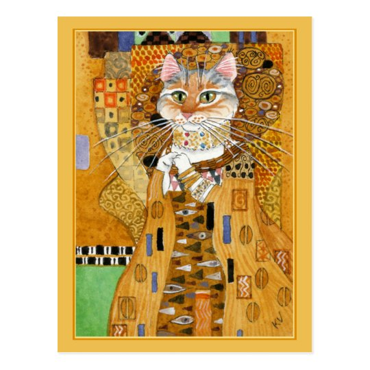 Gustav Klimt gold cute cat spoof postcard