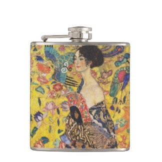 Gustav Klimt Lady With Fan Art Nouveau Painting Hip Flask