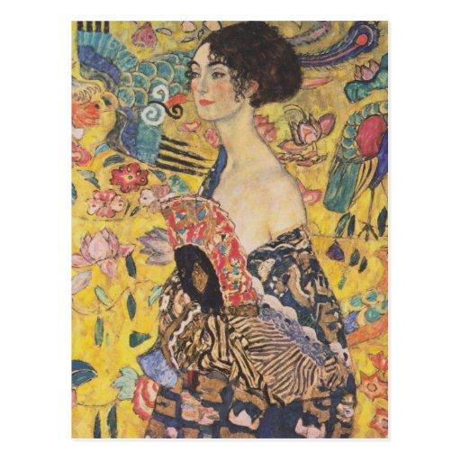 Gustav Klimt Lady With Fan Postcard