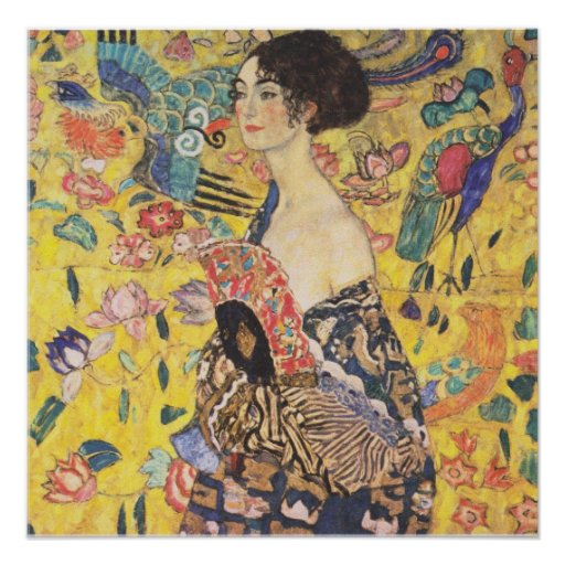 Gustav Klimt - Lady with Fan Reproduction Poster