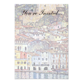 Gustav Klimt - Malcesine at Lake Garda Italy 13 Cm X 18 Cm Invitation Card