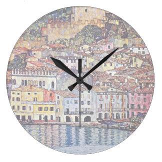 Gustav Klimt - Malcesine at Lake Garda Italy Large Clock