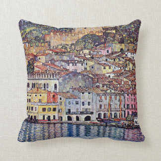 Gustav Klimt - Malcesine at Lake Garda Italy Throw Pillow